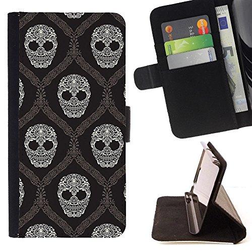Graphic4You Artistic Skull Muster Brieftasche Leder Dünn Hülle Tasche Schale Schutzhülle für LG X Power2 / LG X Charge/LG K10 Power