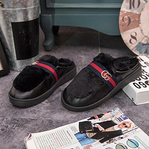 DogHaccd pantofole,Cotone felpato pantofole femmina soggiorno invernale coppie calde pantofole uomini e bella pelle pantofole indoor anti-slittamento non a pavimento Nero1