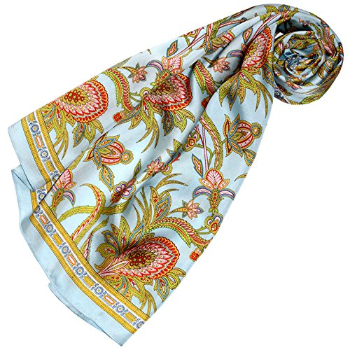 LORENZO CANA Luxus Seidentuch aufwändig bedruckt Tuch 100% Seide 90 x 90 cm harmonische Farben Damentuch Schaltuch 89161 (Schal Seide Italienischer Damen)