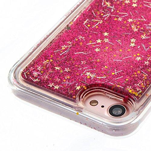 iPhone 7 Hülle, Voguecase Flüssig Schwimmend Treibsand Glitzer Bling Silikon Schutzhülle / Case / Cover / Hülle / TPU Gel Skin für Apple iPhone 7 4.7(Blaues Sand Gold Herz) + Gratis Universal Eingabes Rose Gras
