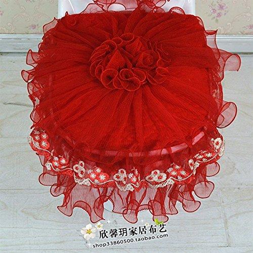 WANG-shunlida Europäischen Stil Spitze Wc drei Stück einfach Tuch koreanischen Stil WC Schüssel sitzen Matte Rot Reißverschluss Hochzeit (Stück Stil Tuch Ein)