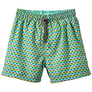 Archimede Boy's A513571 Boxer with Graphic Decoration Graphique Checkered Swim Shorts, Green (Grey/Green), 10 Years (Manufacturer Size: 10 ans)