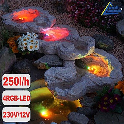 GARTENBRUNNEN BRUNNEN Bachlauf QUELLBACH II mit LED-Licht, 230V ZIERBRUNNEN VOGELBAD WASSERFALL GARTENLEUCHTE TEICHPUMPE - SPRINGBRUNNEN WASSERSPIEL für Garten, Gartenteich, Terrasse, Teich (QUELLBACH II dunkel-grau, 3-teilig mit 4 RGB LED-Licht)