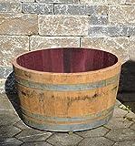 Botte rovere tagliata a metá per utilizzo fioriera oppure piccolo stagno con ruote (Diametro 70 cm)