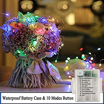 Battery Operated Fairy String Lights,Liwiner 33FT 100LEDs Waterproof LED Copper Wire Starry Lights with Remote Control & Timer, Colorful Firefly Lights DIY Night Lights for Christmas Weddings Garden