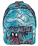 Small backpack with front pocket featuring Mal & Evie Descendants prints from the Walt Disney Pictures movies - Acquamarine -  Dimensions: 31x22x10 cm