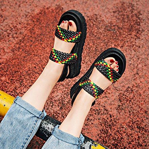 RUGAI-UE Le donne del vento estivo sandali retrò le suole spesse scarpe Black