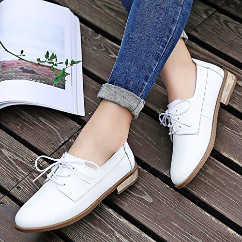 Damen Schnürhalbschuhe Flache Lederschuhe Niedrige Britische Stil Freizeit Atmungsaktiv Modische Schuhe Weiß