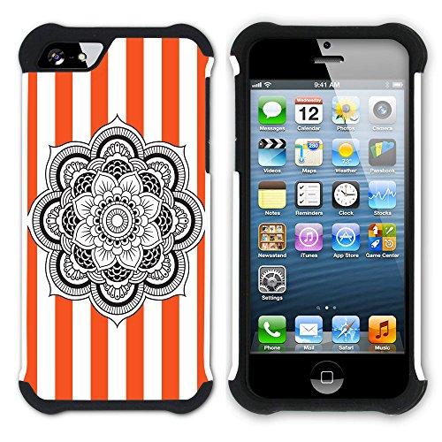 Graphic4You Mandala Blume Streifenmuster (Gelb) Hart + Weiche Kratzfeste Hülle Case Schale Tasche Schutzhülle für Apple iPhone SE / 5 / 5S Orange