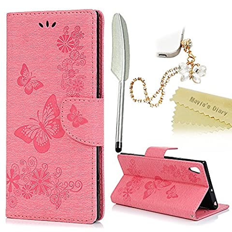 Mavis's Diary Xperia XA1 Ultra Case ,Sony Xperia XA1 Ultra Case - [Wallet Case] Retro PU Leather Notebook Flip Case Flowers Butterfly Emobssed with Inner Soft Gel Rubber Back Holder Magnetic Closure Card Slots & Stand Function & Wrist Strap - Butterfly Dust Plug & Stylus - Pink (Not for Sony Xperia