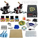 ITATOO Kit Completi Tatuaggio 2 10 Dell'involucro Bobina Pistole Tatuaggio Alimentazione 50 Aghi Ink Tattoo Spina dell'UE (TK1000002)