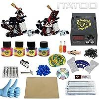 ITATOO TATTOO Complete Tattoo Kits 2 10 Wrap Coil Tattoo Guns Power Supply 50 Tattoo Needles Tattoo Ink UK Plug(TK1000002)