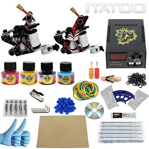 ITATOO Komplette Tattoo Kits 2 10 Wrap Coil Tattoo Guns Netzteil 50 Tattoo Nadeln Tattoo Ink EU Stecker (TK1000002) (Maschine Tattoo Design)