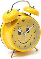 Lilone Yellow Twin Bell Loud Alarm Clock for Heavy Sleepers Smiley Face Emoji Design | for Home Decor Kids Room