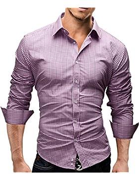 [Sponsorizzato]Merish Camicia Uomo, disegno speciale, a scacchi, Slim Fit 5 Colori Taglia S - XXL Modell 41