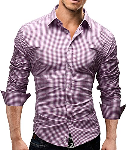 MERISH Hommes Chemise Classique Manches Longues SlimFit Plaid design adapté pour toutes les occasions Modell 41 purple