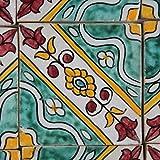 Handbemalte marokkanische Fliese orientalische Keramik Fliese Motiv Mosaikfliese Maya 10 x 10 cm