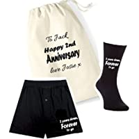 pretty little customs Printed Mens Boxers/Socks Set-2 Years Down Forever to go 2nd Anniversary Cotton Gift Bag Mens…