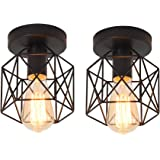 Ganeed Vintage Ceiling Light, Industrial Semi-Flush Mount Chandeliers with Metal Cage, E27 Base Ceiling Lamp Fixture for Porc