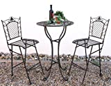 Table haute et 2 Tabourets de bar Set 20832-33 Table Bar Fer forgé en métal Tabouret...