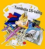 TOMBOLA - 15 Preise und Lose - inkl. 100 Tombola Lose und 15 Scherztombola Preise und der Spardose Schweinchen zum Sammeln der Geldgeschenke - Klassiker der Hochzeitsspiele, Geburtstagsspiele und Partyspiele - Komplettset Tombola L