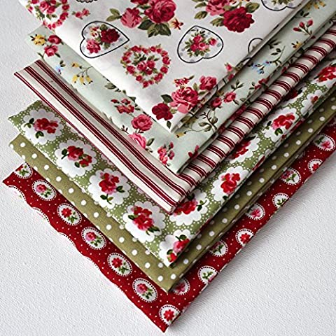 6 Fat Quarters - Pink, Red and Green, Vintage Style (includes free patchwork pattern) by Overdale Fabrics