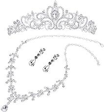 OULII Hochzeit Schmuck Sets Braut Hochzeitsschmuck Set Crystal Strass Tiara Halskette Ohrringe Schmuck Sets