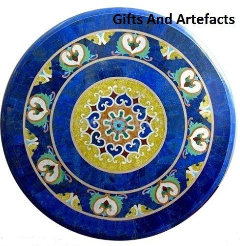Gifts And Artefacts 76,2cm blau rund Stein Lapis Lazuli Stein Terrasse Esstisch Top Einlage Luxury Art