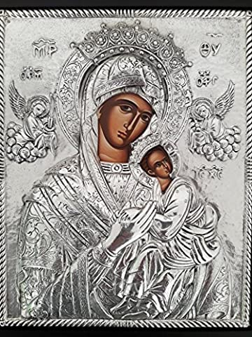 Beautiful religious Orthodox Christian Greek Icon of Mother of Jesus (Virgin Mary) and Jesus Christ as a child named