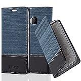 Cadorabo Hülle für HTC ONE M9 (3. Gen.) - Hülle in DUNKEL BLAU SCHWARZ – Handyhülle mit Standfunktion und Kartenfach im Stoff Design - Case Cover Schutzhülle Etui Tasche Book