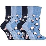6 pairs Gentle Grip Loose Top Non Binding Elastic Bamboo Socks UK 4-8 EUR 37-42