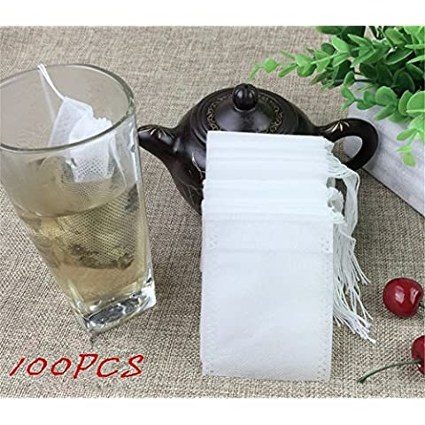 Interesting® 100pcs / lot bolsitas de té 5,5 x 7CM vacíos Bolsas de té perfumado con una cuerda Heal Papel de filtro Sello de hierba suelta té