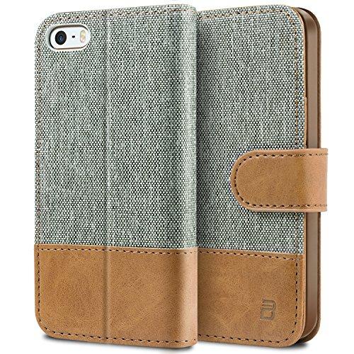 BEZ® Hülle für iPhone SE Hülle, Handyhülle Kompatibel für iPhone SE 5 5S Hülle, Handytasche Schutzhülle Tasche [Stoff und PU Leder] mit Kreditkartenhaltern - Grau