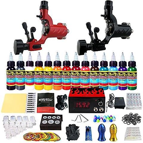 Solong Tattoo® Kit de Tatouage Complète 2 Machine à Tatouer Rotatif Professionnelle 14 Encres Power Supply Aiguille de Tatouage Tattoo Kit Set TK249