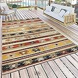 Paco Home In- & Outdoor Terrassen Teppich Modern Ethno Muster Naturtöne Creme Rot Gelb, Grösse:200x280 cm