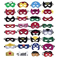 36 Pieces Superhero Masks, Superhero Party Masks Children Masquerade Cosplay Eye Masks for Ages 3 Plus,Birthday Party Supplies Fancy Dress Up Masks