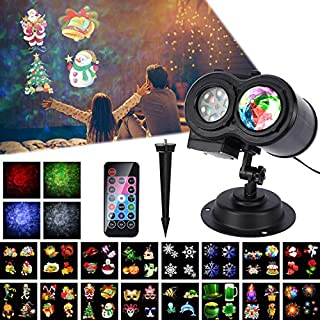 LED Projector Lamp, ALED LIGHT Projector Lights Christmas Waterproof Outdoor Water Wave&16 Slides& Double Projection Light Decoration Landscape Projector Light with Remote Control for Party,Christmas