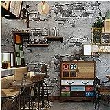 Yosot 3D Rétro Mur Brique Ciment Étanche Effet Papier Peint Chambre Salon Restaurant Fond Papier Peint Gris Foncé