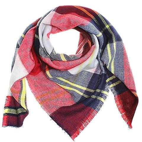 Distressed XXL Damen Oversized Schal Ÿbergro§er Deckenschal Karo Plaid Muster kariert Poncho -