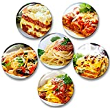Italia comida lasañas Pasta de tomate platos preparados - 6 imanes para nevera diámetro 5,9 cm [05]