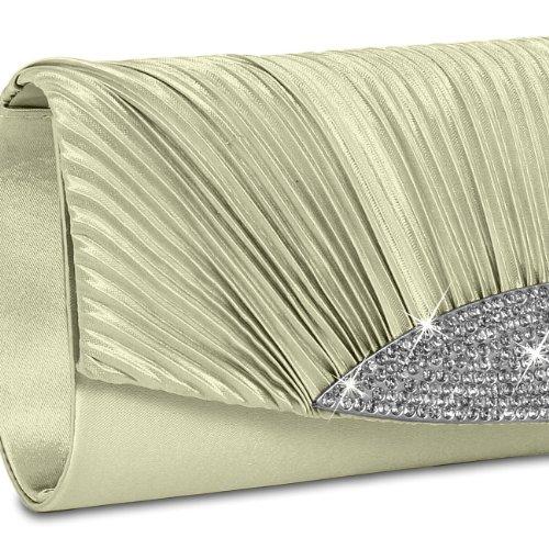 CASPAR ausgefallene Damen Satin Clutch / Abendtasche mit Strassbesatz - viele Farben - TA289 beige
