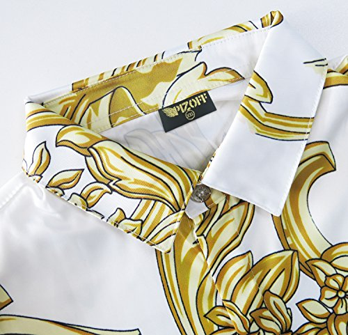 Pizoff Herren Luxus Langarm Golden Hemden mit Baroque-Motiven Y1706-20