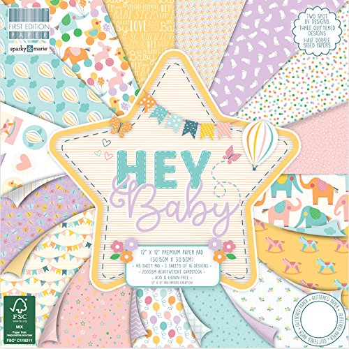 "First Edition Hey Baby Premium Paper Pad 12""x12\"" 48 Sheets (FSC)"