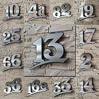 Edelstahl Hausnummer gebürstet rostfrei ( 2-stellig / 17cm Ziffernhöhe )- mit Plexiglas Hintergrund in Anthrazit-grau, Schwarz oder Weiss, 7mm stark - Original ALEZZIO Design - Rostfrei, UV-beständig, Anthrazitgrau ähnlich RAL 7016 mit Edelstahlhausnummer kombiniert - leichte Motage, alle Ziffern und Buchstaben möglich von 1-999, a b c d e f