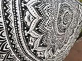 raajsee Indien Strandtuch Rund Mandala Hippie schwarz/Groß Indisch Rundes Baumwolle/Boho Runder Yoga Matte Tuch Meditation/Tischdecke Rund aufhänger Decke Picknick handgefertigt Teppich 70 inch