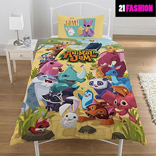 Kinder Animal Jam wendbar Rotary Single Bettwäsche, Steppdecke, Set, 50 % Baumwolle / 50 % Polyester, Animal Jam Print, 135CM X 200CM (Animal-print Cami)