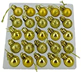 Packung mit 25 Glänzend, Matt & Glitter Mini Weihnachtsbaum-Flitter (Gold)