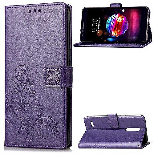 LAGUI Hülle Geeignet für LG K8 2018 / LG K9, Schönes Muster Brieftasche Handyhülle Mit Kartenfächern, und Fach und Magnetische Verschluss, Anti-Scratch, stoßfeste. Lila -