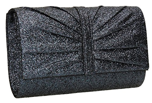 SwankySwansSerafina Shimmer Glitter Clutch Bag Gold - Sacchetto donna Navy blue