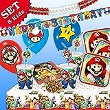 Kit de décoration pour fête d'anniversaire - 54 pièces - Thème de Super Mario - Pour fille et garçon - Pour 8 enfants fans de Mario, Luigi, Toad, Princesse Peach
